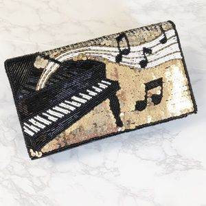 VTG New Gold Beaded Music Note Piano Evening Bag